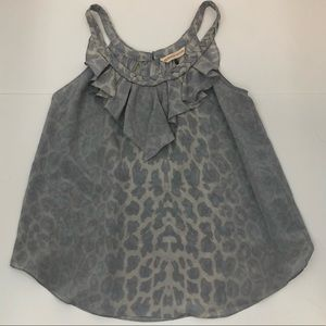 Rebecca Taylor silk leopard sleeveless gray top 4